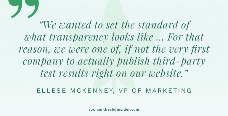 cbdistillery quote on transparency