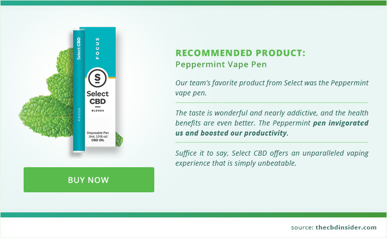 recommended product select cbd peppermint vape pen